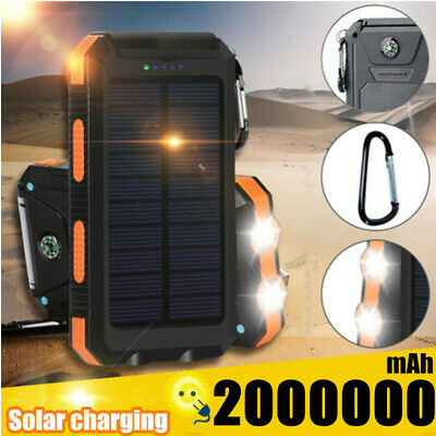 2000000mAh Power Bank Solar Charger 2 USB Polymer Battery for Phone Pack Backup