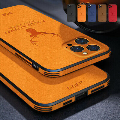 For iPhone 12 Pro Max 11 7 8- XS XR Leather Silicone Matte Soft Phone Case Cover