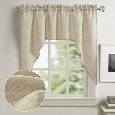 Swag Valance Curtains Window Linen Textured Shade for Kitchen Rod Pocket 1Panel