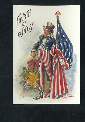 FOURTH OF JULY UNCLE SAM FRED LOUNSBURY PATRIOTIC POSTCARD COPY FIREWORKS