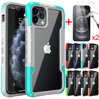 For iPhone 12 11ProMaxXSXRX87 Plus Shockproof Bumper Case-Tempered Glass