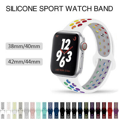 Silicone Sports iWatch Band Strap for Apple Watch Series 6 5 4 3 2 1 SE 3844mm