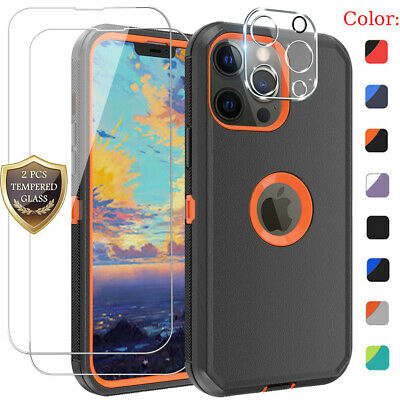 For iPhone 13 Pro Max 12 11 Shockproof Rugged Case-Tempered Glass-Lens Protector