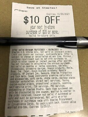 STAPLES COUPON 10 off 20 IN-STORE ONLY exp 10302021 See Exclusions In Descr-