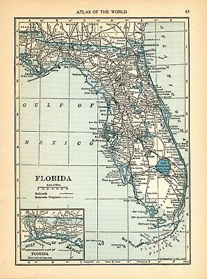 1934 Antique Map of Florida Vintage Florida State Map Wall Art smap 9488