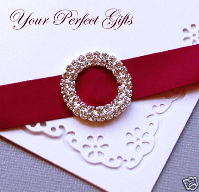 12 ROUND 28mm Wedding Invitation Rhinestone 2Row Buckle