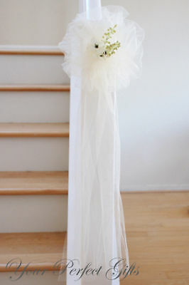 9 IVORY TULLE NET WEDDING PEW BOWS BRIDAL DECOARTION