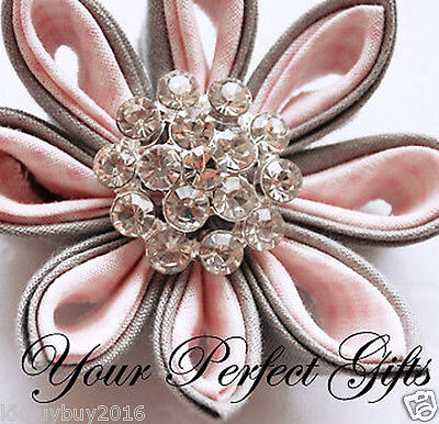 10 Round Circle Rhinestone Crystal Button Buckle Clip