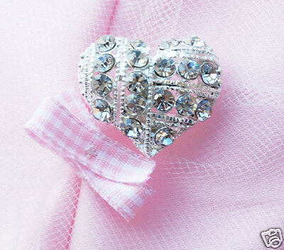 10 Heart 1 Rhinestone Crystal Silver Button Buckle