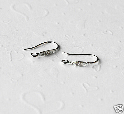10 pcs Silver Plated Earwire Clear Crystal Rhinestone Fishhook Open Loop EF002