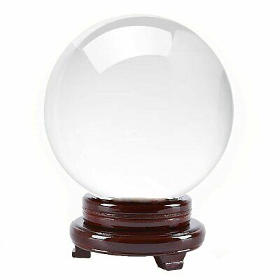 Clear Crystal Ball Quartz 110mm 4-2 With Wooden Stand TOP USA SELLER