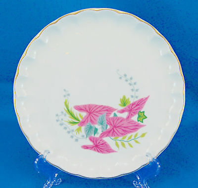 W S George PINK CALADIUMS B8761 Bread and Butter Plate 6-5 in- Leaves Scalloped