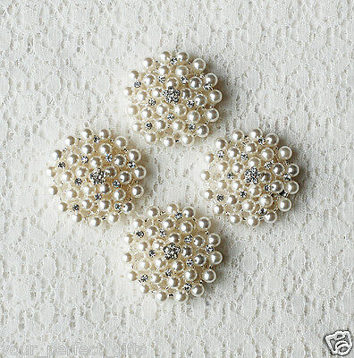 10 Rhinestone Button Round Pearl Crystal Wedding Invitation Bouquet Making BT132