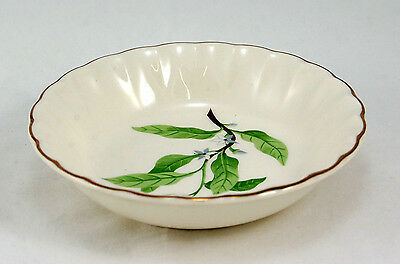 W- S- George B8760 Fruit  Dessert Bowl 5-125 in- Green Leaves Gold Trim Fluted