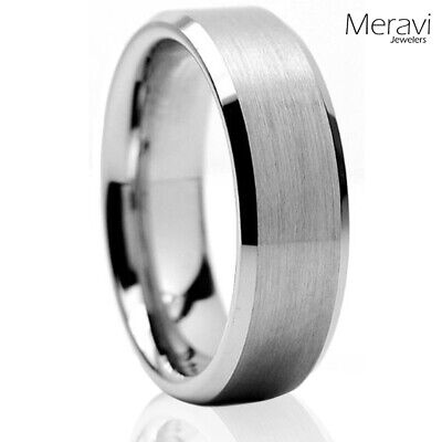 Tungsten Carbide Wedding Band Ring Brushed Silver Mens Jewelry Size 6-15 - Half