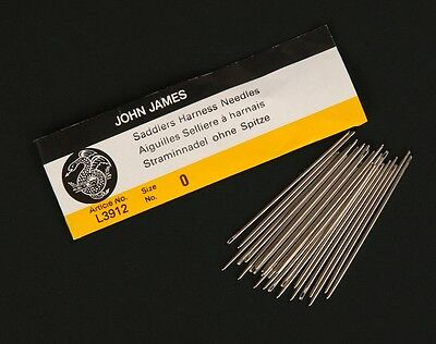 25 John James Saddlers Harness Needles Sz 42000000 Leather Sewing Blunt