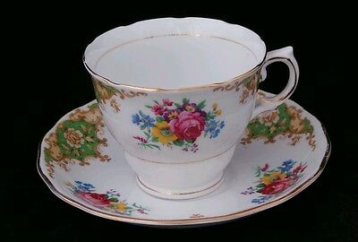 Colclough Vintage Floral Pink Blue Yellow Green Cup Saucer China