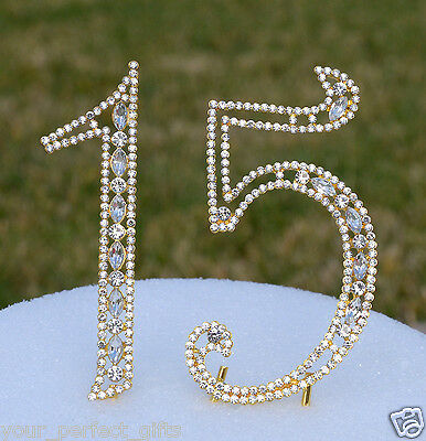 5 Rhinestone Gold Number Fifteen 15 Bling Cake Topper Birthday Anniversary