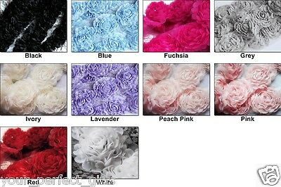 1 Yard Chiffon Rose Lace Trim Applique 3D Bridal Wedding Camellia Ruffled Flower