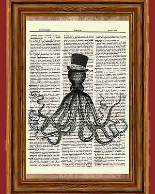 Octopus Steampunk Hat Dictionary Picture Art Print Book Nautical Ocean Poster