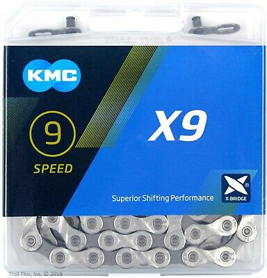 KMC X9-93 9-Speed Stretch-Proof Bike Chain Road MTB fit Campagnolo Shimano SRAM