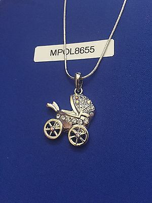 Mothers Day Silver Plated Swarovski Elements Crystal Baby Stroller Necklace