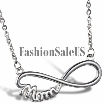Stainless Steel Mom Infinity Symbol Charm Pendant Necklace For Mothers Day Gift