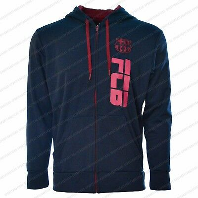 Fc Barcelona Jacket Adult track zip up hoodie Navy Blue Fleece Messi 10