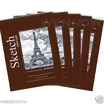 5pcsLot 30 CT Sheets 9 x 12 inches Premium Quality Sketches Pad Drawing Book