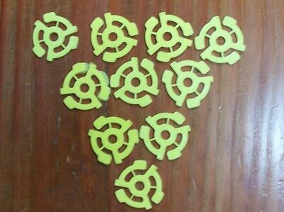 10 New Yellow 45 RPM 7 Record Plastic Adapter Inserts Snap Vinyl Free Shipping