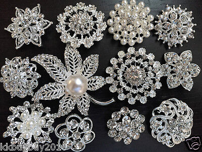12 pcs vintage style Lot rhinestone crystal brooch bridal wedding bouquet kit