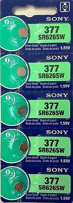 SONY 377 SR626SW 5 piece SR626 V377 Watch Battery EXP 08-2021