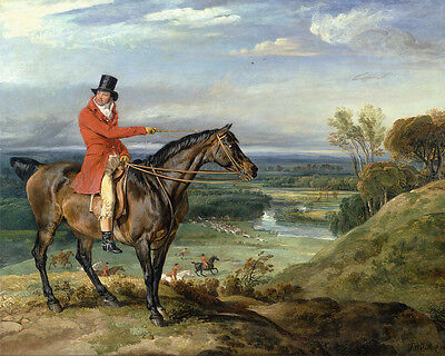 English Fox Hunt On Horseback Oil Painting Horse Real Canvas Art Print