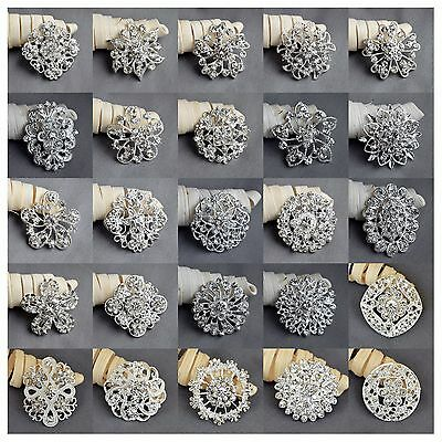 50 pcs Wedding Bridal Bouquet Silver Flower Rhinestone Crystal Brooches Pin Lot