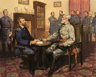 Civil War Painting General Grant Meets Robert E- Lee - Fine Art Canvas Print