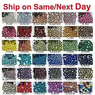 1440 pcs DMC Iron On Hotfix Crystal Rhinestones Colors SS6 SS10 SS16 SS20 2-5mm