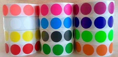 1000ROLL  34 CIRCLE COLOR CODED LABEL DOT STICKERS INVENTORY CODE 12 COLORS