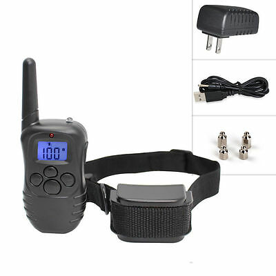 Pet Dog Training Collar Rechargeable Electric LCD 100LV Shock One Collars
