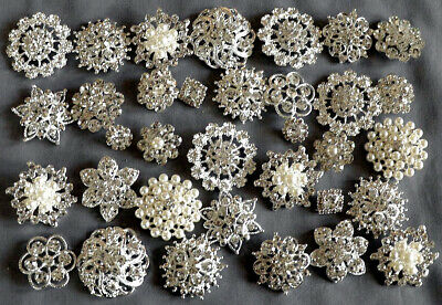 50 Assorted Rhinestone Button Brooch Embellishment Pearl Crystal Wedding Brooch