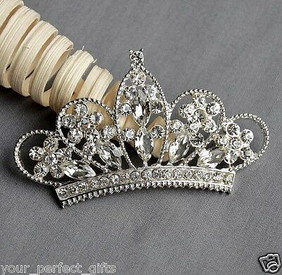 10 Rhinestone Button Crystal TIARA CROWN Bridal Wedding Brooch Bouquet BT550