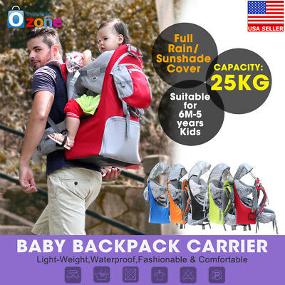 Baby toddler Hiking Carrier Backpack w Raincover Child Kid Suncanopy Shield