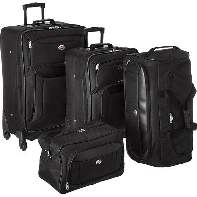 American Tourister Brookfield Black 4 Pc Luggage Set 2 Spinners Bag Duffle
