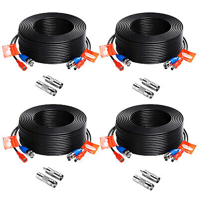 ZOSI 4pcs 100ft Video Power Cable BNC RCA Cord Wire for Security Camera System