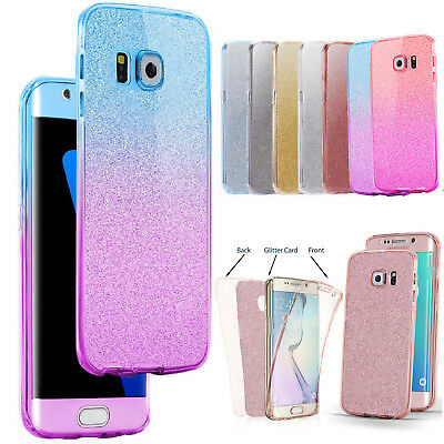 For Samsung Galaxy S7 S8 S9 Phones Case Glitter Shockproof Hybrid 360 TPU Cover