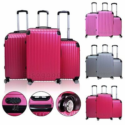3 PCS Luggage Set Travel Bag ABS Trolley Suitcase 360° Wheels Premium Quality