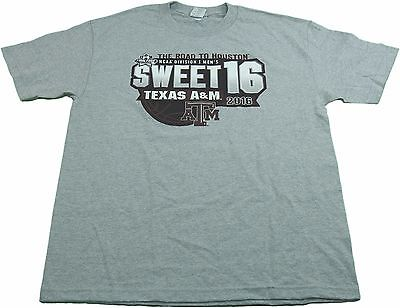 NCAA Mens 2016 Division I Texas A-M Sweet 16 Road to Houston T-Shirt Gray