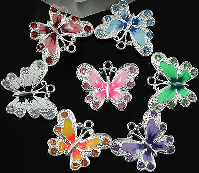 510PCS Multicoloured Enamel Animal Butterfly Pendant Charms For Necklace