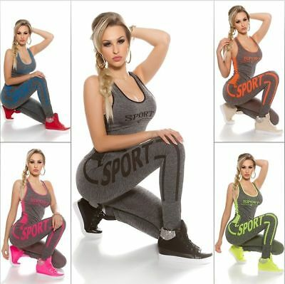 Damen Jogginganzug Jogging Top Hose Sportanzug Sporthose Neon Fitness Yoga GYM