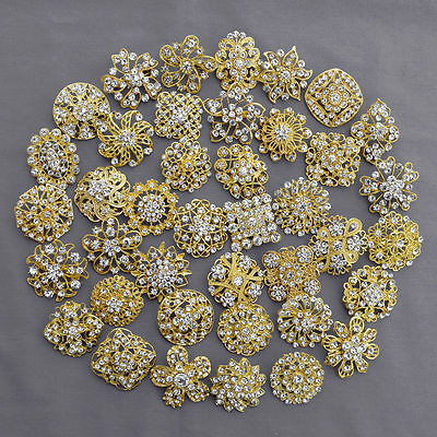 Brooch Lot 10-100 pcs Gold Rhinestone Crystal Pin Wedding Bouquet DIY Kit