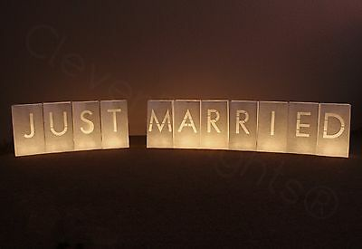Just Married Luminary Bags - White - 11 Bags - Wedding LED Candle Bag Sack